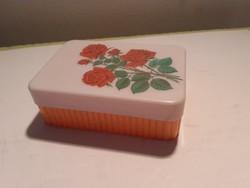 Retro műanyag szappantartó régi rózsás szappanos doboz