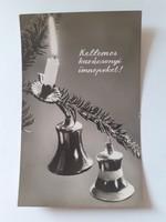 Retro karácsonyfadíszes képeslap 1963 csengős levelezőlap
