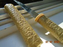 Antik Faragott csont markolattal és tokkal Tanto japán rövid tőr