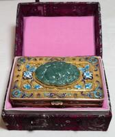 Meseszép, aranyozott-ezüst ékszertartó doboz Aventurin ásvánnyal - 9.