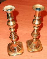 Antik réz gyertyatartó pár érdekes forma