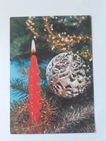Retro karácsonyfadíszes képeslap 1981