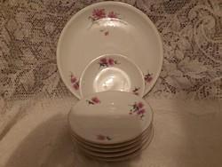 Alföldi jelzett porcelán fodros virágos kerek kínáló 6 kistányérral