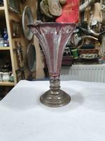 Régi ezüst talpas kristály váza