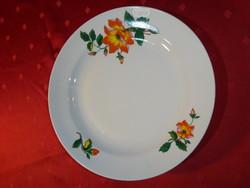 Zsolnay porcelán, sárga virágos lapostányér, átmérője 23,8 cm.