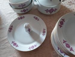 Alföldi jelzett porcelán hiányos készlet lila mintával( Listár-szedet 122)