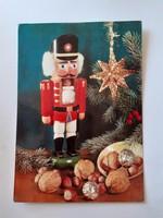 Retro karácsonyi képeslap 1982 diótörő figurával