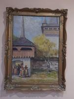 Mesés szignált falusi festmény - aranyozott keretben