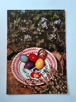 Retro húsvéti képeslap 1976 kerámiás levelezőlap