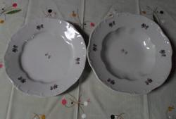 Zsolnay porcelán, ibolyás tányérok (mélytányér, lapostányér)
