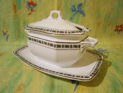 F_013 Nagyon szép antik fedeles porcelán szószos kínáló tál