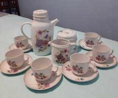 Krizantém mintás 6 személyes retro Hollóházi porcelán kávés készlet (teljes)