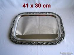 ET_04 Régi süteményes vagy szendvicses fém tálca hatalmas  41 x 30 cm súlyos darab!