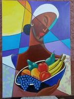 Jann festőművész, Nő gyümölcskosárral festménye.
