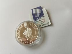 1994 Norvég 33,4 gramm 0,925(uncia színezüst)-Jégkorong+certi