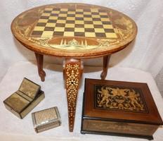 Indiai sakk asztal / csont intarzia