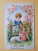 Antik dombornyomott húsvéti üdvözlőlap, levelezőlap, 1906