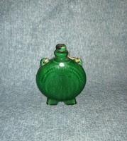 Zöld mázas kerámia kulacs 16 cm magas (20/d)