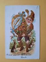 Antik dombornyomott húsvéti üdvözlőlap, levelezőlap, 1905