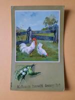 Antik levelezőlap, képeslap, húsvéti üdvözlőlap, 1908