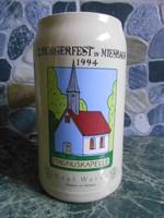 Korsó sörös kerámia német bajor 1 liter 12. Bürgerfest in Miesbach 1994