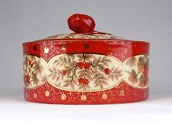 1B814 Antik nagyméretű jelzett madaras porcelán bonbonier
