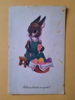 Retro levelezőlap, képeslap, húsvéti üdvözlőlap, 60-as évek