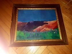 Perlrott Csaba szignos olaj karton festmény