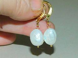 Törtfehér Biwa tenyésztett Valódi Gyöngy Aranyozott Fülbevaló
