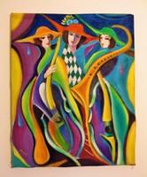 Zenebona / kubista stílus / olaj festmény