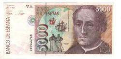 5000 peseta 1992 Spanyolország kiváló