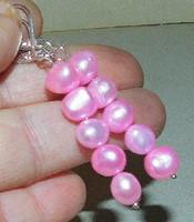 Rózsaszínű tenyéésztett Valódi Gyöngy Fülbevaló 5.5 cm -es !