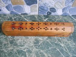 Füstölőtartó doboz fa faragott indiai áttört mintával réz díszítéssel 30*6,5*5,5 cm