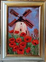 *****Fehér Margit: PIROSLÓ PIPACSOK - tűzzománc festmény, keretezve*****