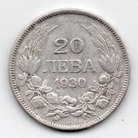 Bulgária 20 bolgár Leva, 1930, Ag