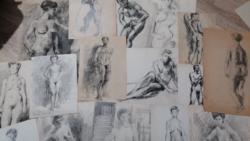 Akt grafikák (16db)! Juhász Erika festőművésztől! Különböző méretek!