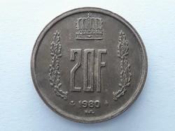 Luxemburg 20 Frank 1980 - Luxemburgi 20 francs külföldi pénzérme eladó