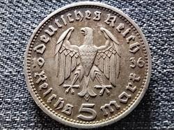 Németország Paul Von Hindenburg .900 ezüst 5 birodalmi márka 1936 D (id41760)