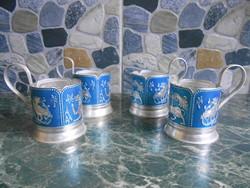 Pohártartó szett készlet fém állatmintás kék-ezüst 4 db