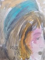 CS. NÉMETH MIKLÓS: Kalapos nő, 1989 (akvarell portré, jelz., 25x35) Márffy, Tóth Menyhért tanítványa