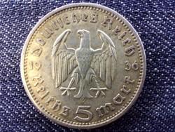 Németország Paul Von Hindenburg (1847-1934) ezüst 5 birodalmi márka 1936 A (id13856)