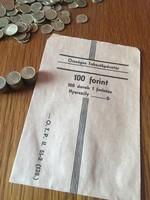 100 Forint - 100 darab 1 forintos érme szett - Országos Takarékpénztár - Kártya Játék Érme papír