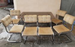 Extra bauhaus design étkezőasztal és 6 db szék