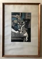 Litkei József Csendélet, színes litográfia, 34,9x23,6cm