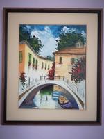 Mediterrán utca 2. - Pancza Ildikó festőművész hangulatos olajfestménye kerettel együtt