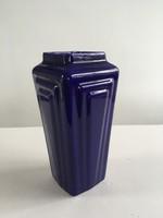 Vintage, régi mázas, szép kerámia váza art-deco stílusú mintával
