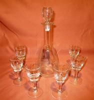 Régi szőlőfürt mintás butella 6 kis talpas pohárral, likőrös, pálinkás készlet, kínáló, üvegpohár