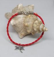 Kabbala védelmező, vörös fonott bőr karkötő, Szitakötő sharmmal