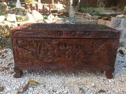 Antik kínai vasfa faragott jelenes láda, keleti, ázsiai, japán