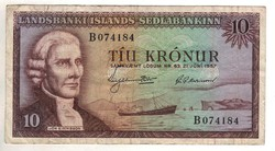 """10 kronur 1957 Izland 6 jegyű sorszám előtt """"B"""""""